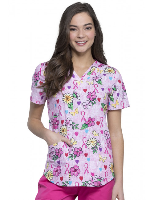 "Blouse médicale imprimée ""Hope Is Beautiful"", Collection Cherokee (TF652)"