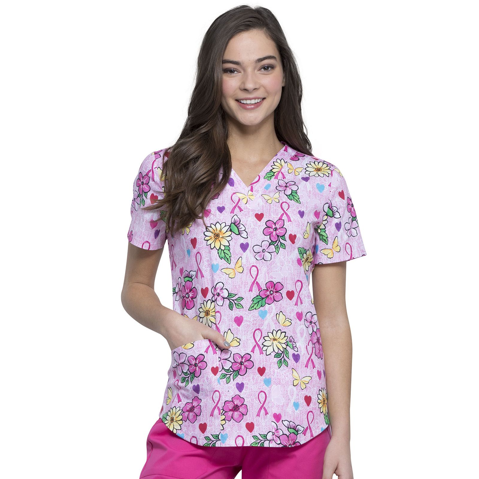 "Blouse médicale imprimée ""Hope Is Beautiful"", Collection Tooniforms Disney (TF652), vue face"
