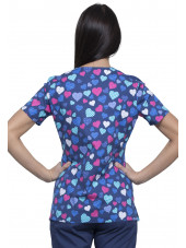 "Blouse médicale imprimée ""With All My Heart"", Cherokee (CK614) vue dos"