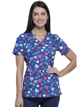 "Blouse médicale imprimée ""With All My Heart"", Cherokee (CK614) vue de face"