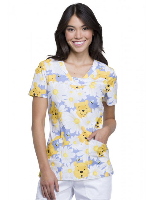 "Blouse médicale imprimée ""Peek A Pooh"", Collection ""Tooniforms"" (TF641)"