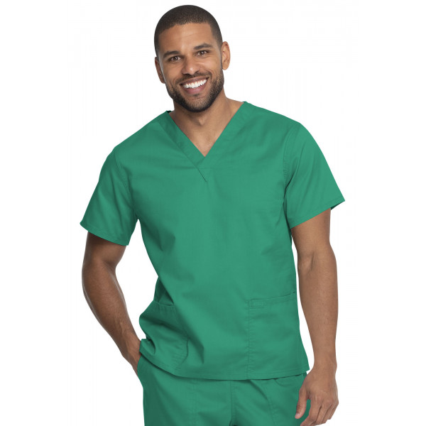 """Blouse médicale 2 poches, Homme, Dickies, Collection """"Genuine"""" (GD640), couleur vert vue face"""