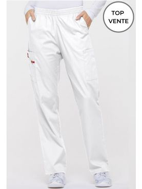 "Pantalon médical Unisexe élastique, Dickies, Collection ""EDS signature"" (86106), couleur blanc, vue top vente"
