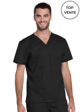 "Blouse médicale Unisexe, Dickies, Collection ""Genuine"" (GD620), couleur noir vue top vente"