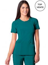 "Blouse médicale antimicrobienne col rond, Cherokee, collection ""Infinity"" (2624A), vue top vente, couleur teal blue"