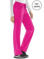 "Pantalon médical élastique et cordon Antimicrobien, Cherokee collection ""Infinity"" (1123A), vue top vente, couleur fushia"