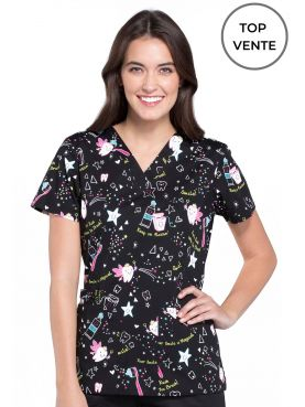 "Blouse Médicale Imprimée Femme ""Tooth Fairy Magic"", Cherokee (CK616)"