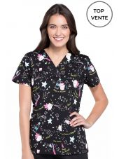 "Blouse Médicale Imprimée Femme ""Tooth Fairy Magic"", Cherokee (CK616), vue top vente"