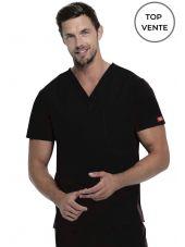 """Blouse médicale Homme, Dickies, poche cœur, Collection """"EDS signature"""" (83706), couleur noir, vue top vente"""