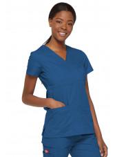 """Blouse médicale Cache Coeur Femme, Dickies, collection """"EDS signature"""" (85820), couleur bleu royal vue droit"""