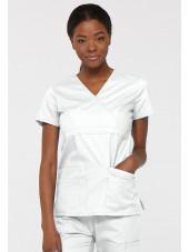 """Blouse médicale Cache Coeur Femme, Dickies, collection """"EDS signature"""" (85820), couleur blanc vue face"""