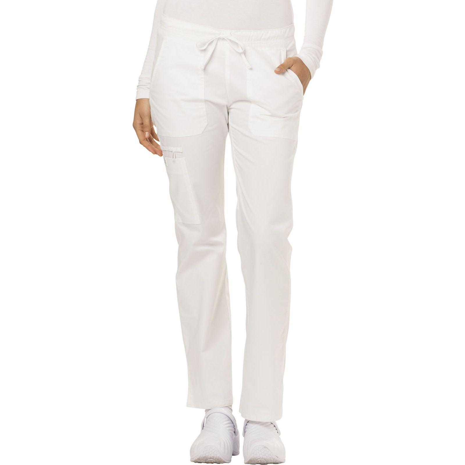 """Pantalon médical Femme Cordon, Dickies, Collection """"GenFlex"""" (DK100), couleur blanc vue face"""