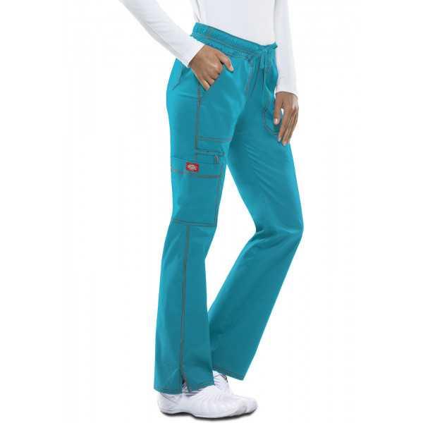 """Pantalon médical Femme Cordon, Dickies, Collection """"GenFlex"""" (DK100), couleur turquoise vue coté"""