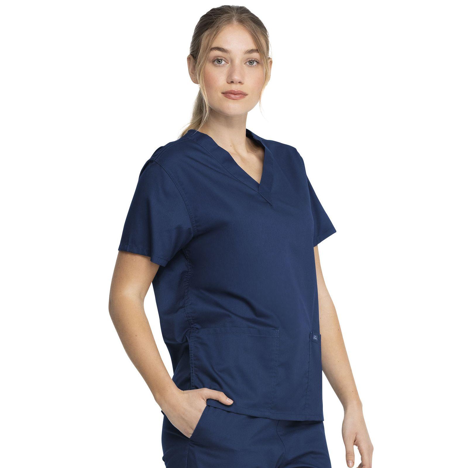 """Blouse médicale 2 poches Femme, Dickies, Collection """"Genuine"""" (GD640), couleur bleu marine vue droit"""