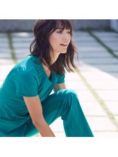 "Blouse médicale antimicrobienne col rond, Cherokee, collection ""Infinity"" (2624A), vue zoom, couleur teal blue"