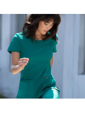 "Blouse médicale antimicrobienne col rond, Cherokee, collection ""Infinity"" (2624A), vue mouvement, couleur teal blue"