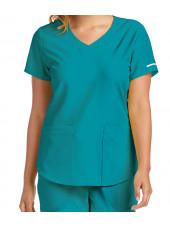 """Blouse médicale femme, couleur teal blue vue zoom, collection """"Skechers"""" (SK101-)"""