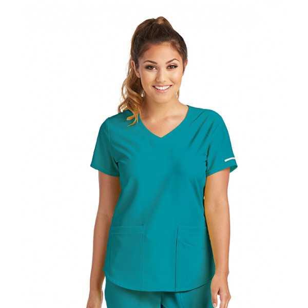 """Blouse médicale femme, couleur teal blue vue de coté, collection """"Skechers"""" (SK101-)"""