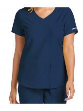 """Blouse médicale femme, couleur bleu marine vue détail, collection """"Skechers"""" (SK101-)"""