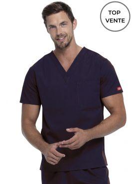 """Blouse médicale Homme, Dickies, poche cœur, Collection """"EDS signature"""" (83706), couleur marine, vue top vente"""