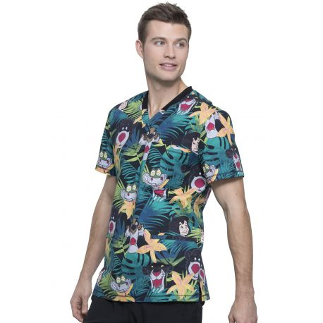 "Blouse médicale imprimée ""Bungle In The Jungle"", Collection Tooniforms Disney (TF725) vue gauche"