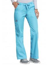 Pantalon médical Femme cordon et élastique, Cherokee Workwear Originals (4020), couleur turquoise vue coté gauche