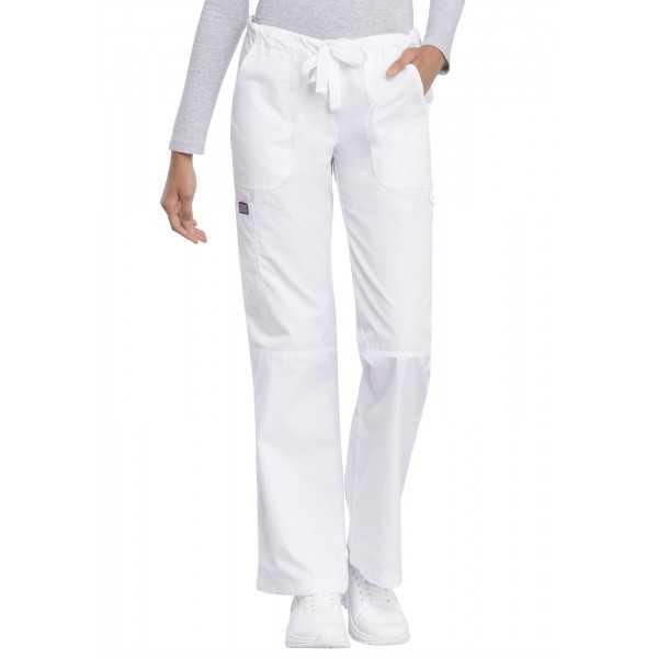 Pantalon médical Femme cordon et élastique, Cherokee Workwear Originals (4020), couleur blanc vue coté face