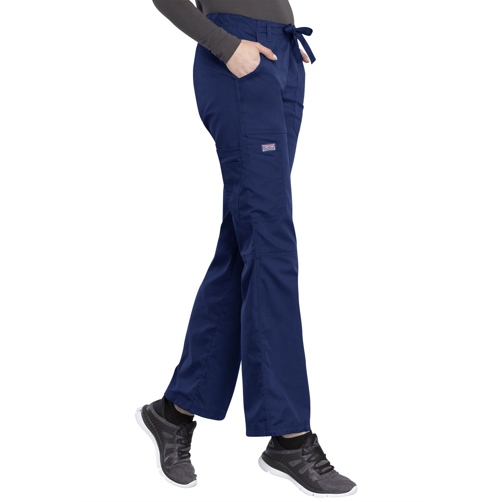 Pantalon médical Femme cordon et élastique, Cherokee Workwear Originals (4020), couleur bleu marine vue coté droit