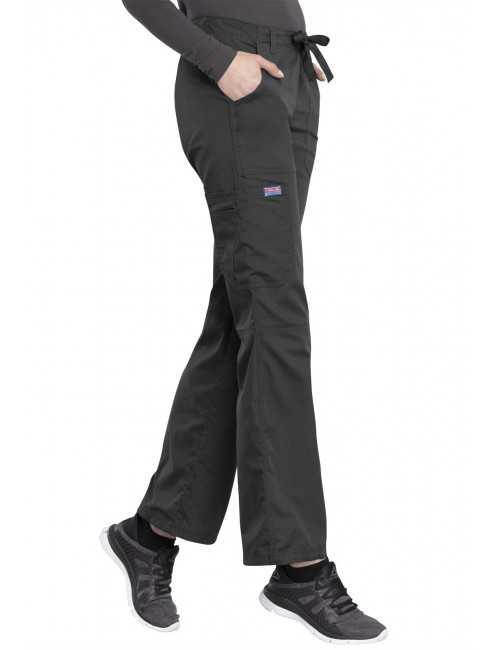 Pantalon médical Femme cordon et élastique, Cherokee Workwear Originals (4020), couleur gris anthracite vue coté droit