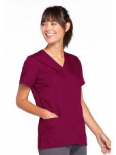 Blouse médicale Femme boutons pression, Cherokee Workwear Originals (4770), couleur bordeaux vue gauche
