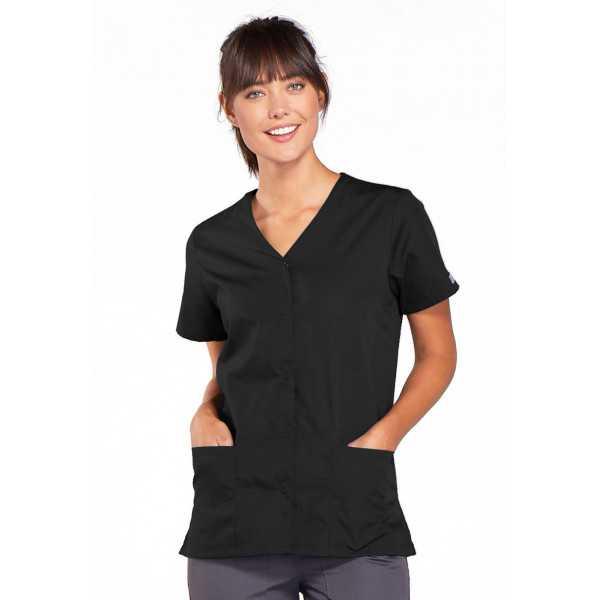 Blouse médicale Femme boutons pression, Cherokee Workwear Originals (4770), couleur noir vue face