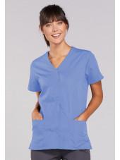 Blouse médicale Femme boutons pression, Cherokee Workwear Originals (4770), couleur bleu ciel vue face