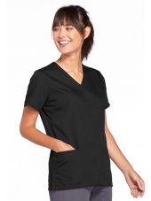 Blouse médicale Femme boutons pression, Cherokee Workwear Originals (4770), couleur noir vue gauche