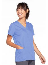 Blouse médicale Femme boutons pression, Cherokee Workwear Originals (4770), couleur bleu ciel vue gauche