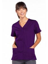 Blouse médicale Femme boutons pression, Cherokee Workwear Originals (4770), couleur aubergine vue face