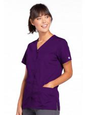 Blouse médicale Femme boutons pression, Cherokee Workwear Originals (4770), couleur aubergine vue droit