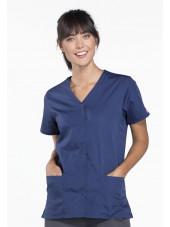 Blouse médicale Femme boutons pression, Cherokee Workwear Originals (4770), couleur bleu marine vue face