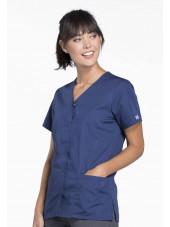 Blouse médicale Femme boutons pression, Cherokee Workwear Originals (4770), couleur bleu marine vue droit
