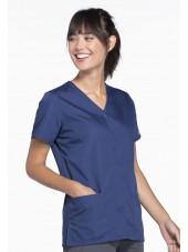 Blouse médicale Femme boutons pression, Cherokee Workwear Originals (4770), couleur bleu marine vue gauche