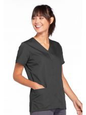 Blouse médicale Femme boutons pression, Cherokee Workwear Originals (4770), couleur gris anthracite vue gauche