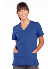 Blouse médicale Femme boutons pression, Cherokee Workwear Originals (4770), couleur bleu royal vue face