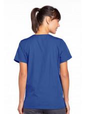 Blouse médicale Femme boutons pression, Cherokee Workwear Originals (4770), couleur bleu royal vue dos