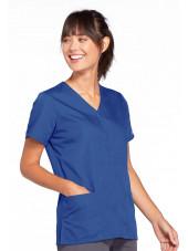 Blouse médicale Femme boutons pression, Cherokee Workwear Originals (4770), couleur bleu royal vue gauche