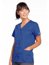 Blouse médicale Femme boutons pression, Cherokee Workwear Originals (4770), couleur bleu royal vue droit
