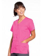 Blouse médicale Femme boutons pression, Cherokee Workwear Originals (4770), couleur rose vue droit
