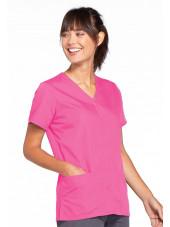 Blouse médicale Femme boutons pression, Cherokee Workwear Originals (4770), couleur rose vue gauche