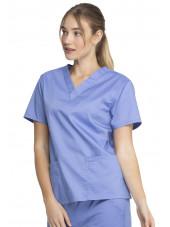 """Blouse médicale 2 poches Femme, Dickies, Collection """"Genuine"""" (GD640) couleur bleu ciel vue gauche"""