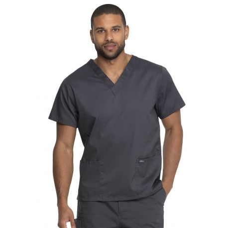 "Blouse médicale 2 poches, Homme, Dickies, Collection ""Genuine"" (GD640) couleur gris vue face"