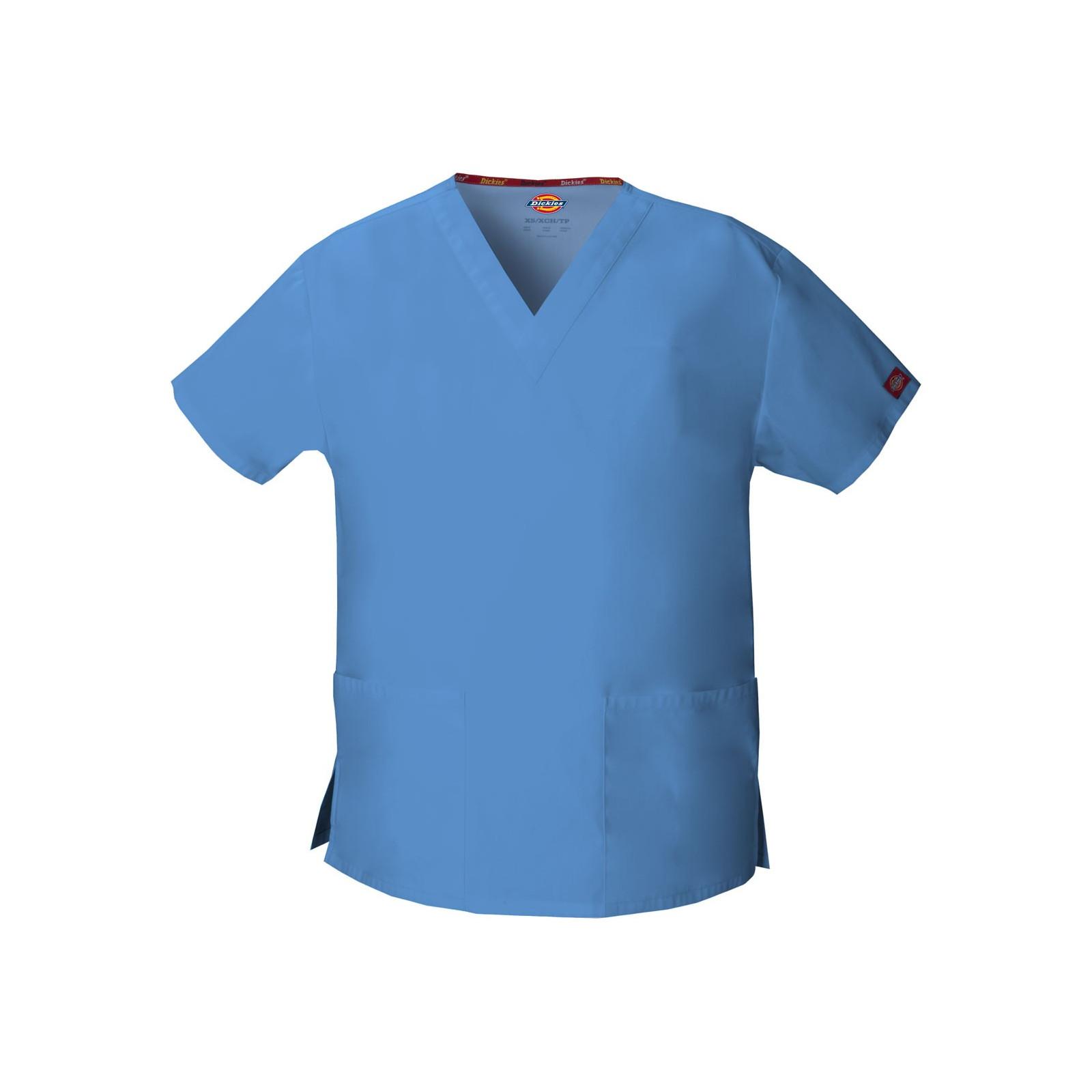 """Blouse médicale Col V Homme, Dickies, 2 poches, Collection """"EDS signature"""" (86706), couleur bleu ciel, vue produit"""