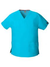 """Blouse médicale Col V Homme, Dickies, 2 poches, Collection """"EDS signature"""" (86706), couleur bleu turquoise, vue produit"""